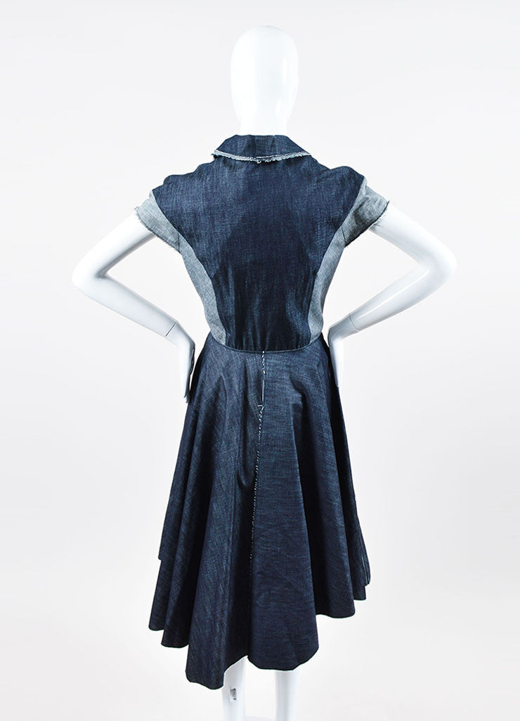 Denim Bottega Veneta Fringe Trim Mesh Sequin Cap Sleeve Dress Backview