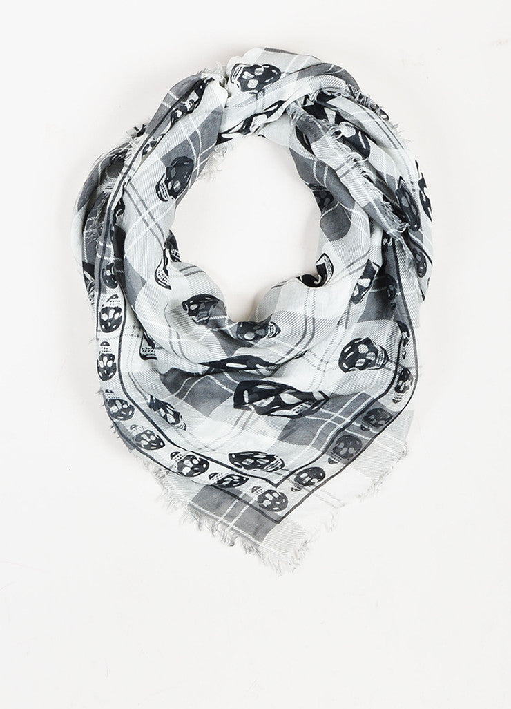 White Grey Black Alexander McQueen Plaid Skull Scarf Front