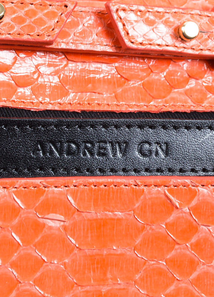 Andrew Gn Coral Python Skin Turn Lock Mini Brief Crossbody Bag Brand