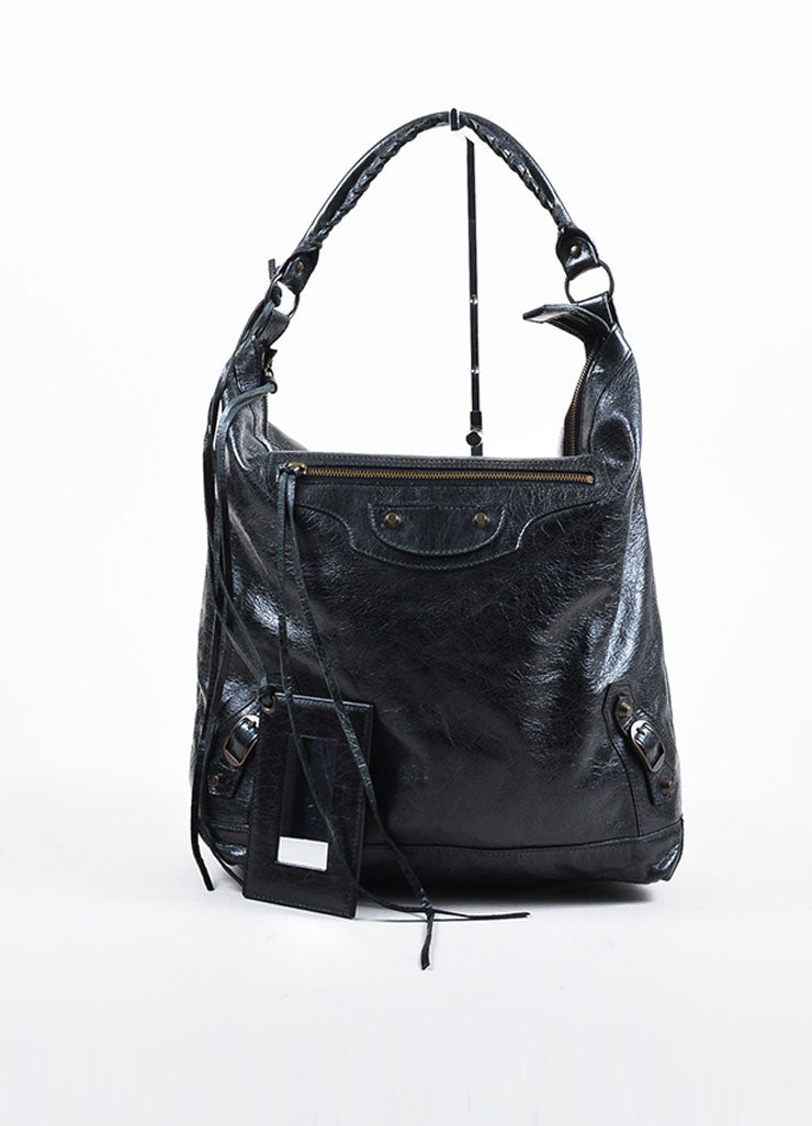 "Black Coated Leather Balenciaga ""Classic Giant Day"" Hobo Bag Frontview"