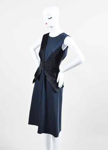 Black and Navy Bottega Veneta Wool and Silk Bow Structured Sleeveless Dress Sideview
