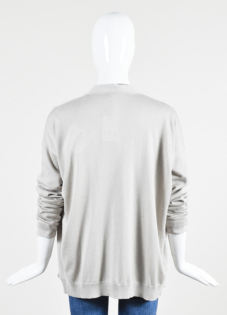 Grey Brunello Cucinelli Cashmere and Silk Beaded Neck Sweater Backview