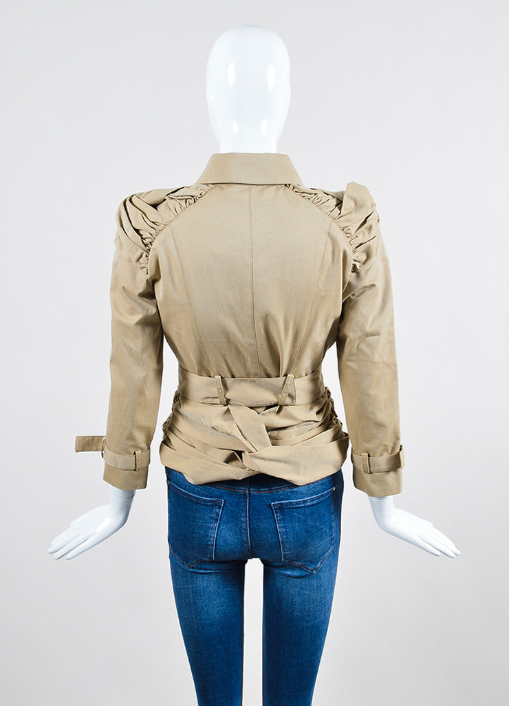 Burberry Prorsum Khaki Cotton Ruched Knot Snap Front Belted Jacket Backview