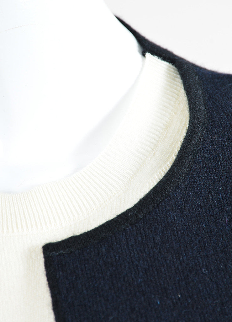 Black and Cream Celine Wool and Cashmere Cardigan Sweater with Built In Shell Detail