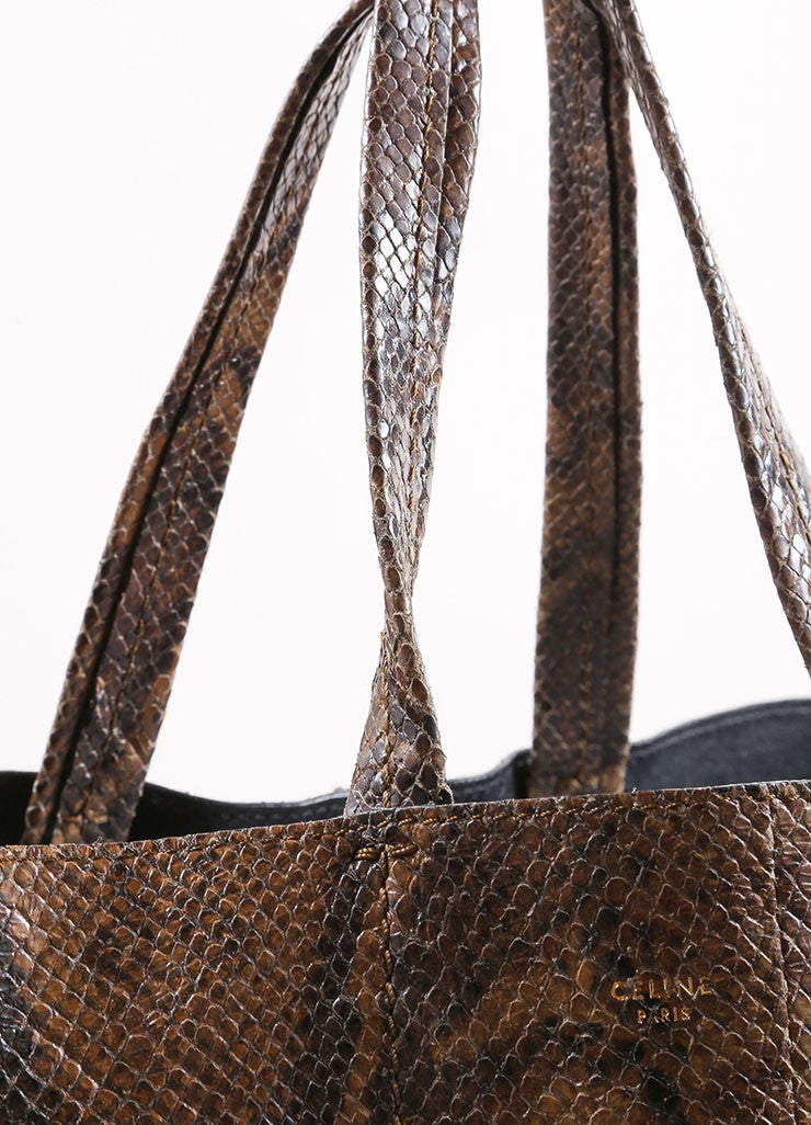 "Celine Brown and Black Embossed Snakeskin Leather ""Vertical B-Cabas"" Tote Bag Detail 2"