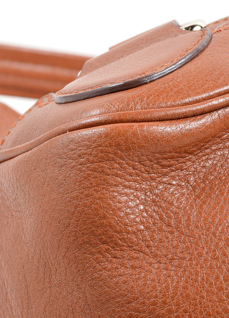 Celine Caramel Pebbled Leather Satchel Handbag Detail