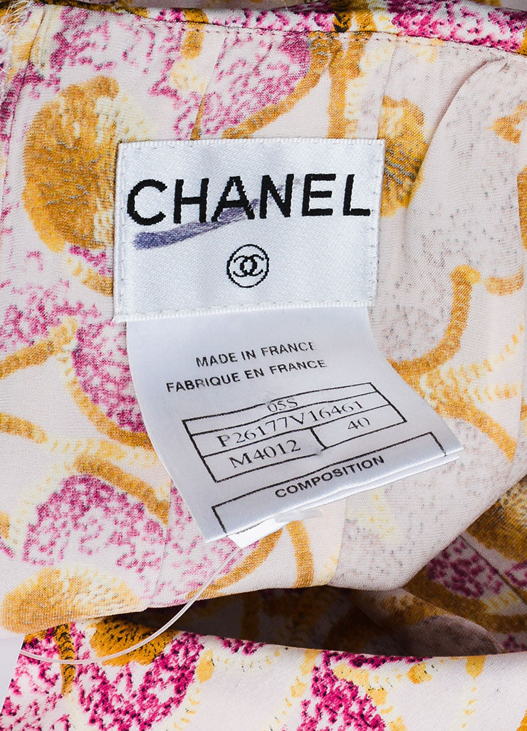 Pink & Yellow Chanel Silk Floral Print Strapless Dress Brand