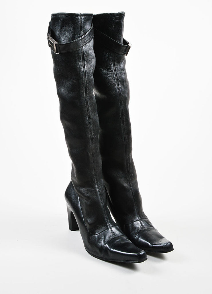 Chanel Black Leather Stretch Pointed Toe Knee High Boots Frontview