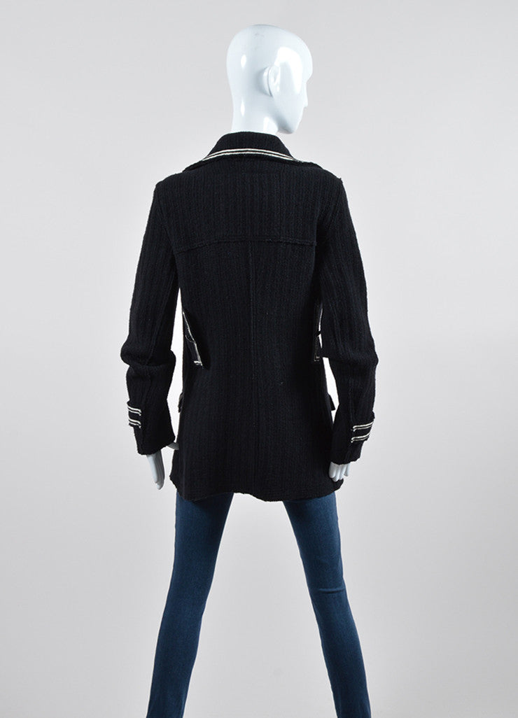 Black and White Chanel Wool Double Breasted Coat  Backview