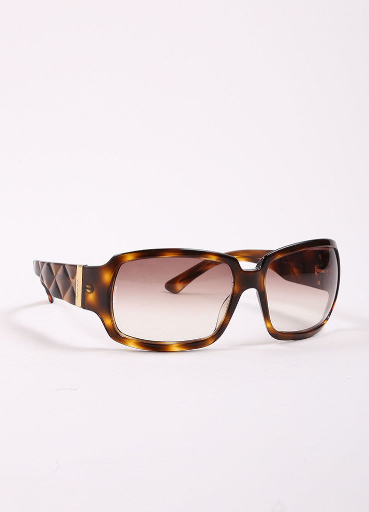 "Chanel Tortoise Brown Translucent Oversized Quilted ""5061"" Sunglasses Sideview"