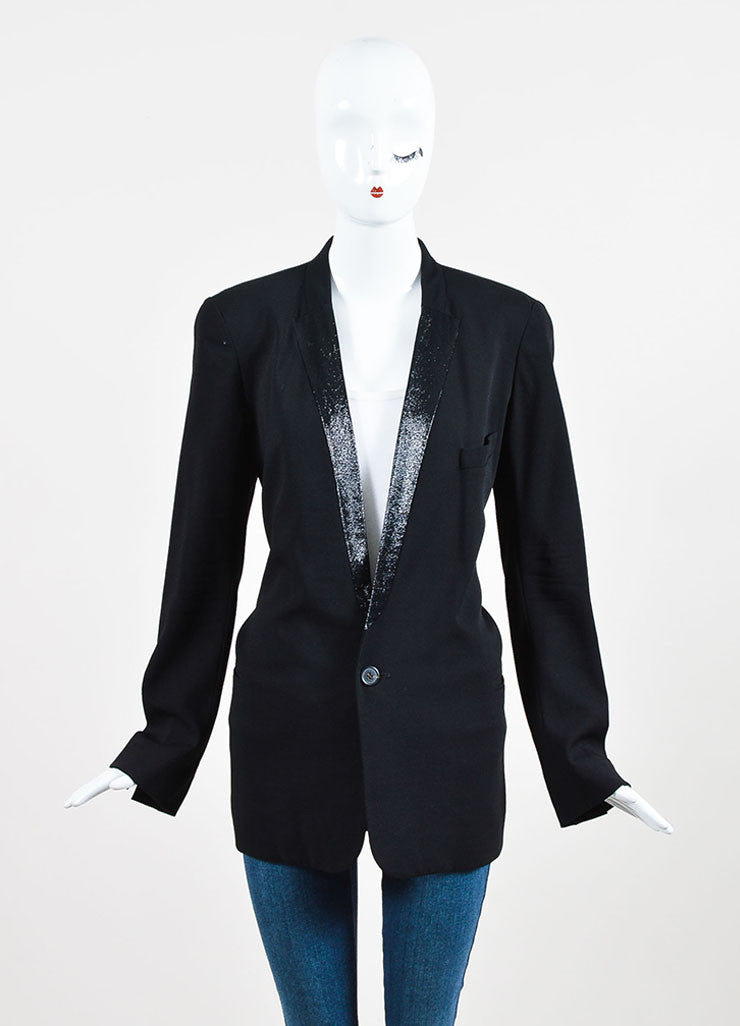 Black Chloe Crepe Wool Metallic Lapel Button Up Blazer Jacket Front 2