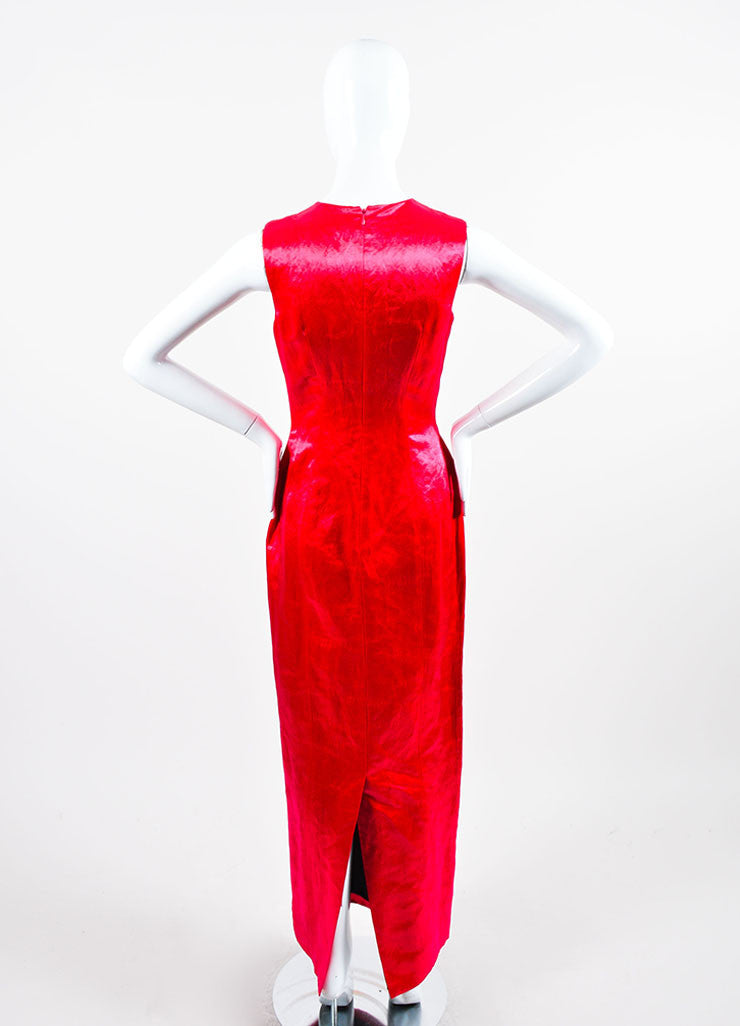Fuchsia Christian Dior Fitted Floor Length Shiny Satin Sleeveless Gown Backview