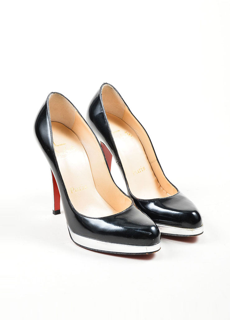 "Black and Silver Leather Christian Louboutin ""Mirror Decollete"" Pumps Frontview"