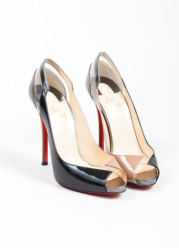 "Black and Taupe Christian Louboutin ""Technicatina 120"" Peep Toe Patent Heels Frontview"