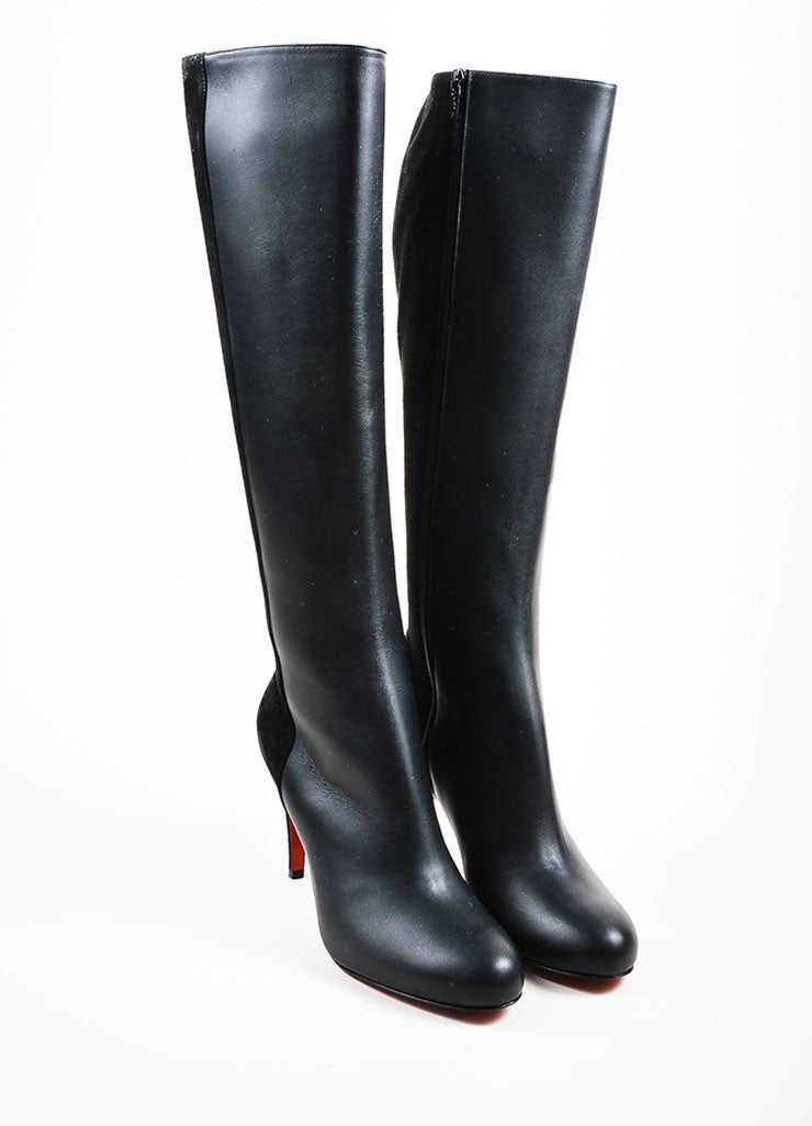 "Black Christian Louboutin Leather ""Acheval 85"" Boots Front"