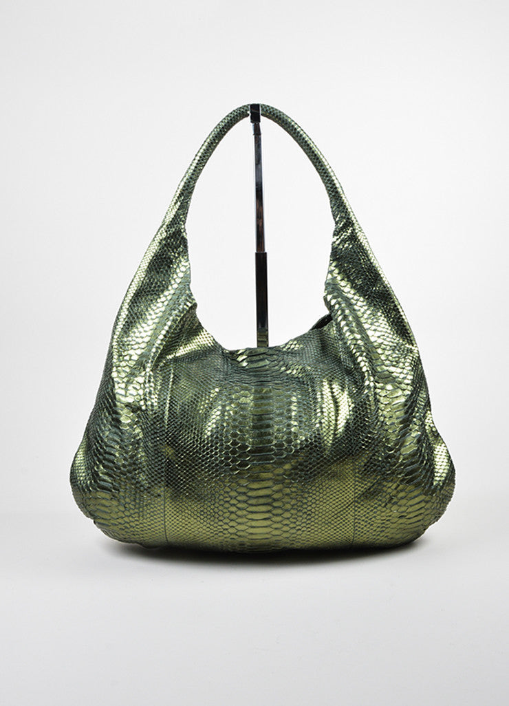 Devi Kroell Green Metallic Snakeskin Oversized Hobo Shoulder Bag Frontview