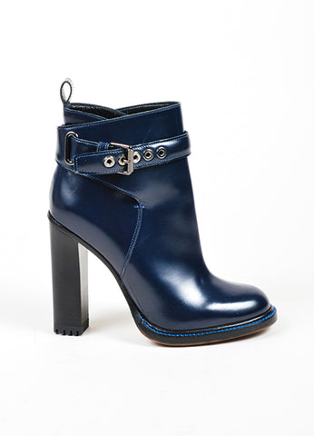 Etro Navy Polished Leather Buckle Stacked Heel Ankle Boots Sideview