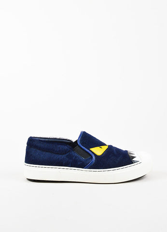 "Fendi Navy Calf Hair Leather Trim ""Buggies"" Slip On Platform Sneakers Sideview"