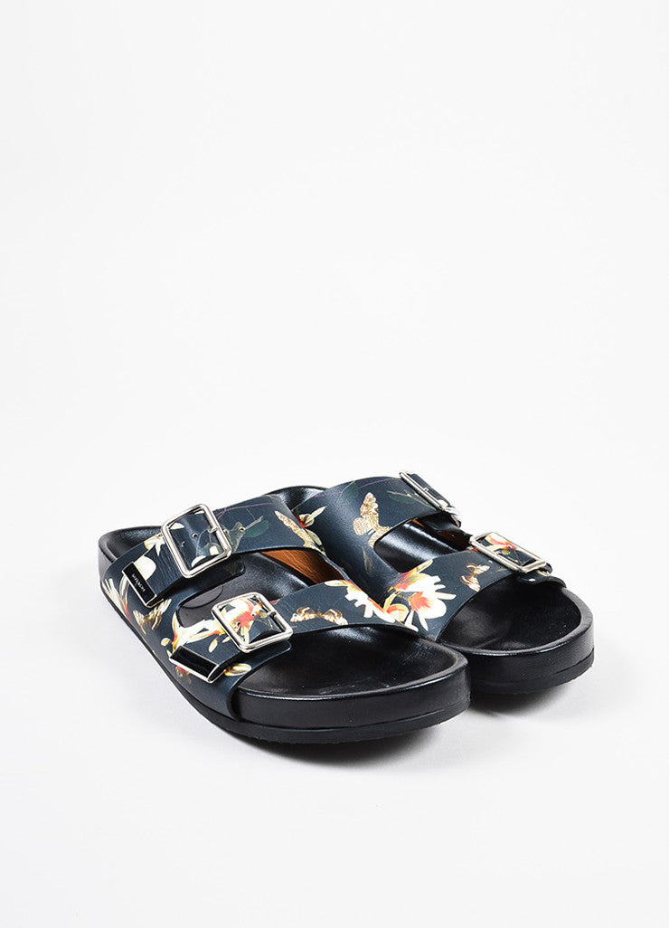 Black and Multicolor Givenchy Floral Print Dual Buckled Slide Sandals Frontview