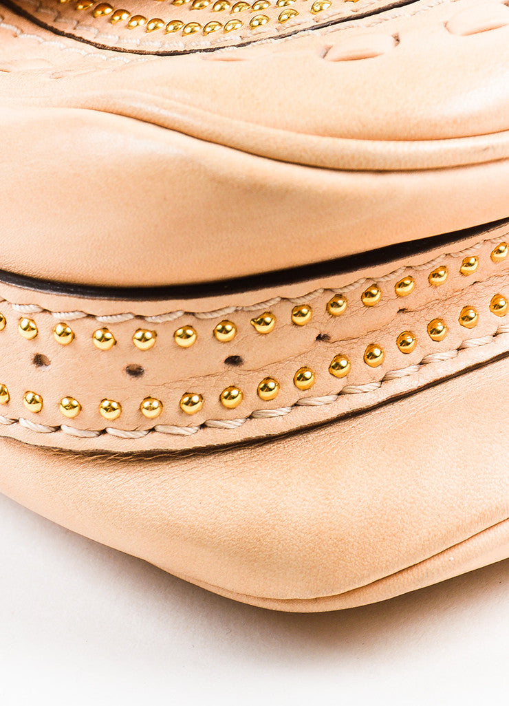 "Gucci Beige Leather Gold Toned Stud Tassel ""Small Snaffle Bit"" Bag Detail"