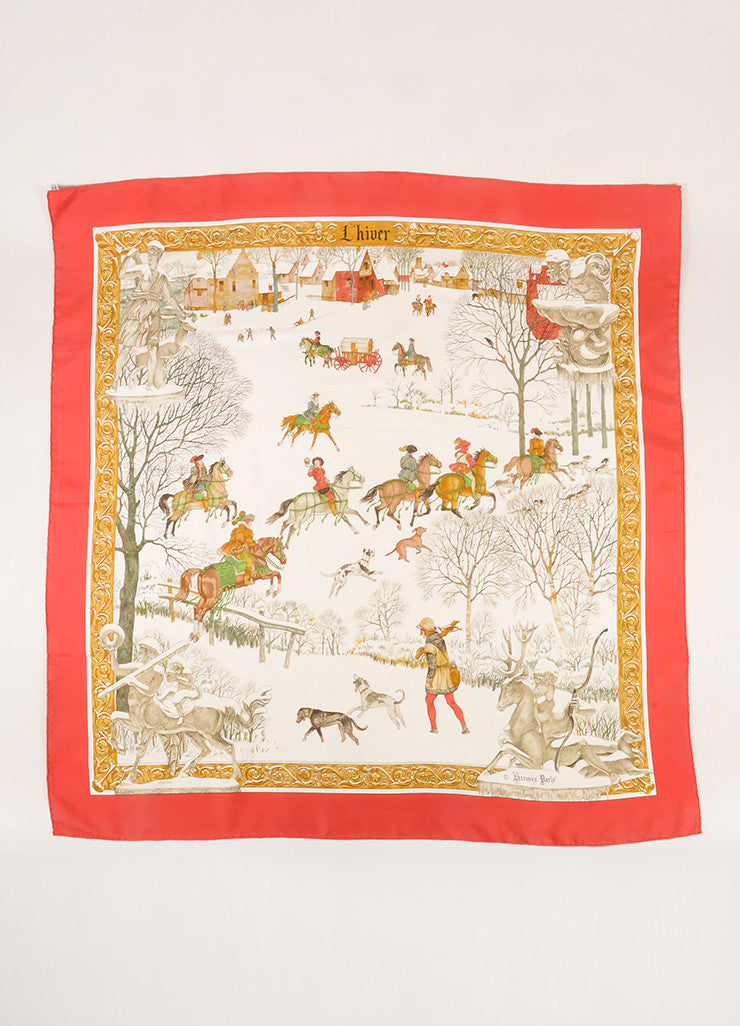 "Hermes Red, Cream, and Multicolor Silk Winter Print ""L'hiver"" Scarf Frontview"