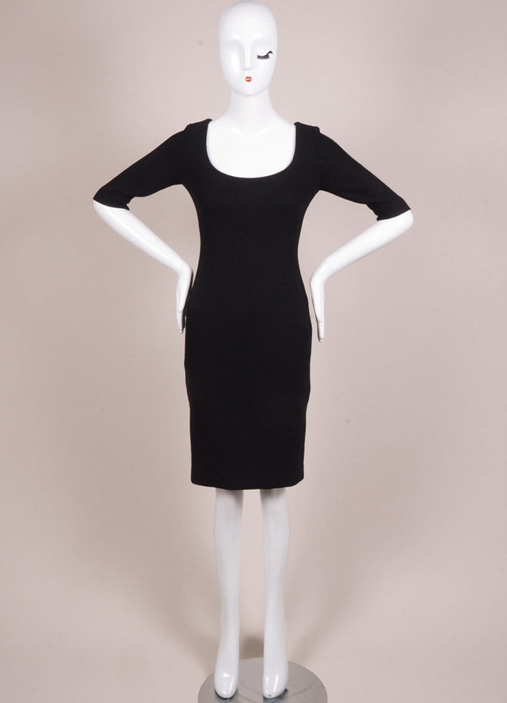 Holmes & Yang New With Tags Black Wool Half Sleeve Scoop Neck Sheath Dress Frontview