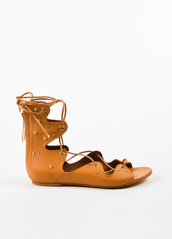 "IRO Camel Leather Studded Lace Up ""Xiri"" Flat Gladiator Sandals Sideview"