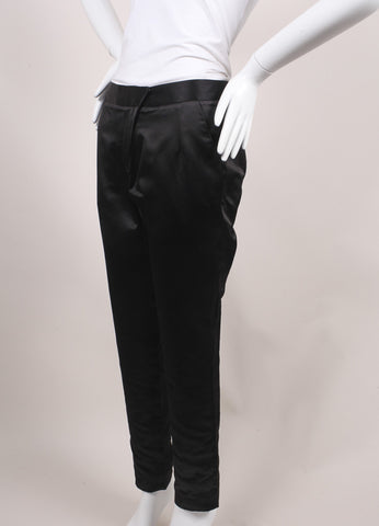 Jason Wu New Black Silk Duchess Satin Stovepipe Dress Pants Sideview