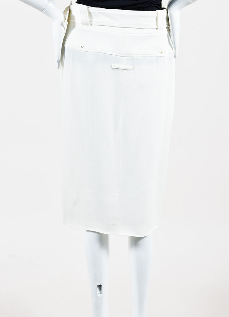 White Jean Paul Gaultier Cargo Moto Zip Pencil Skirt Back
