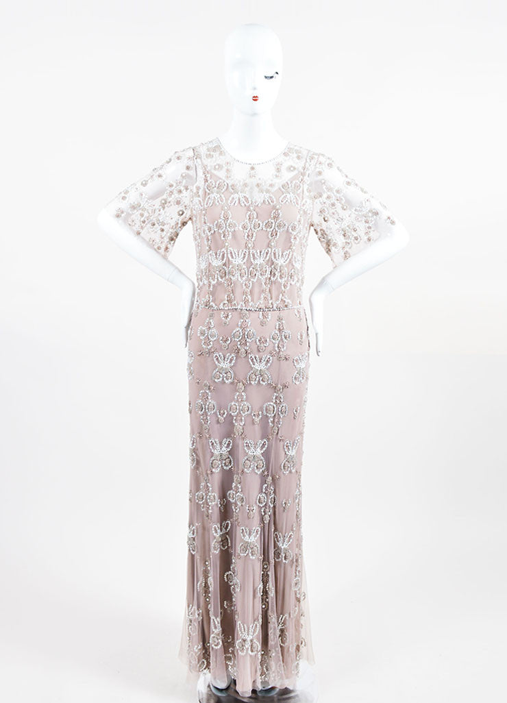 Taupe and White Jenny Packham Beaded and Sequined Short Sleeve Floor Length Gown Frontview