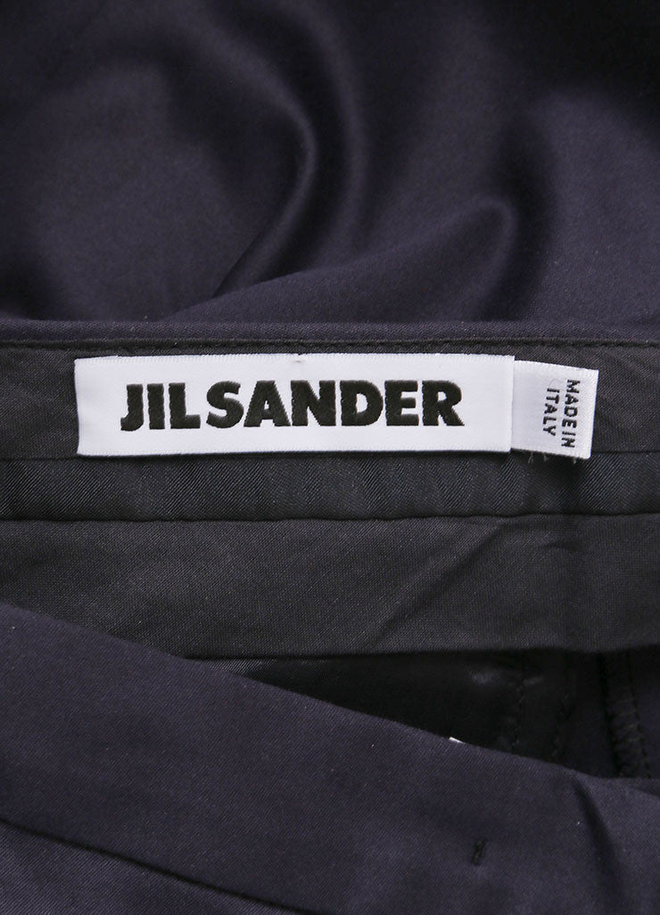 "Jil Sander New With Tags Navy Sateen Cotton Straight Leg ""Daniel"" Trousers Brand"