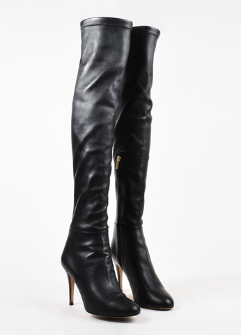 "Jimmy Choo Black Stretch Leather Thigh High ""Turner"" Boots Frontview"