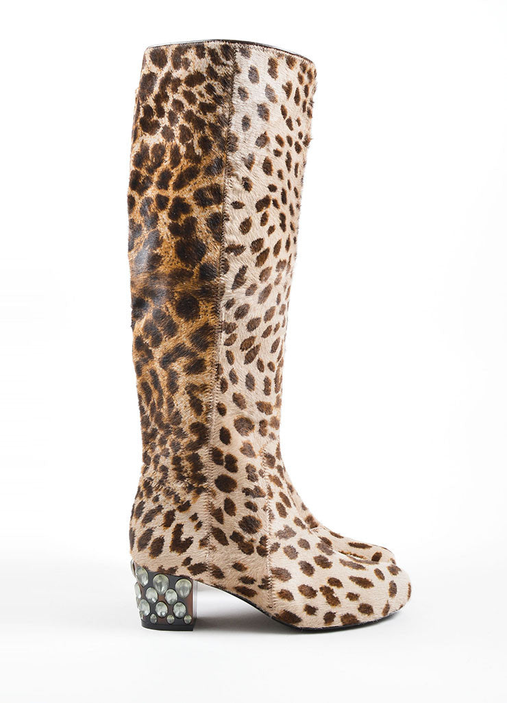 Lanvin Multi-Brown Pony Hair Leopard Print Heeled Boots Sideview