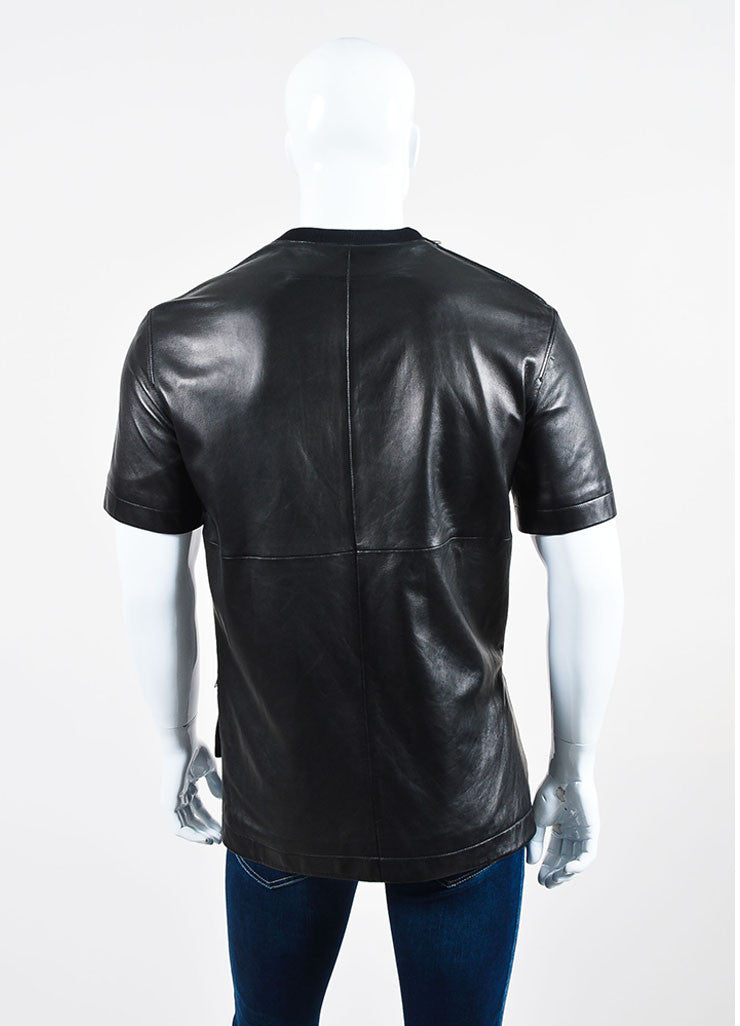 Men's Givenchy Black Leather Zipper Accent Tee Shirt Backview