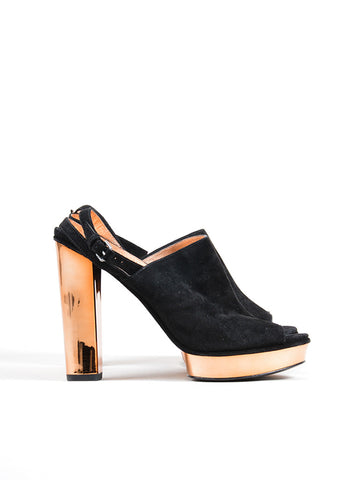 Marc by Marc Jacobs Black and Rose Gold Suede Platform Slingback Chunky Heels Sideview