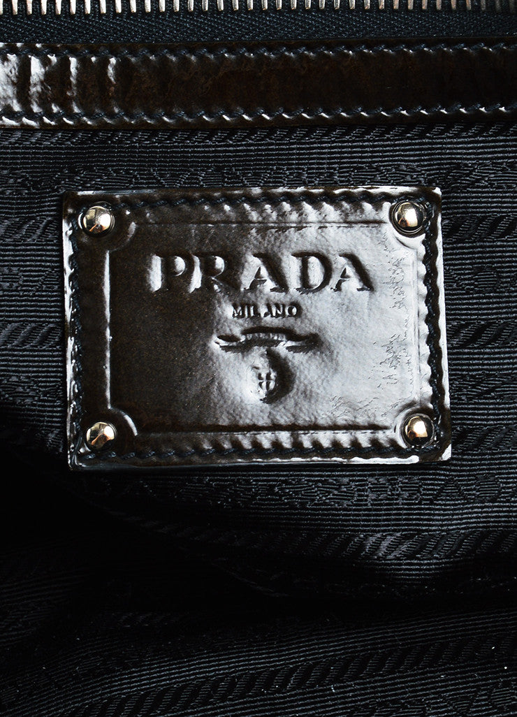 "Prada Olive and Black Patent Leather Ombre ""Sfumato"" Top Handle Satchel Bag Brand"
