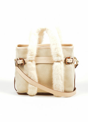 Beige Salvatore Ferragamo Suede and Mink Fur Handle Shoulder Bag Frontview