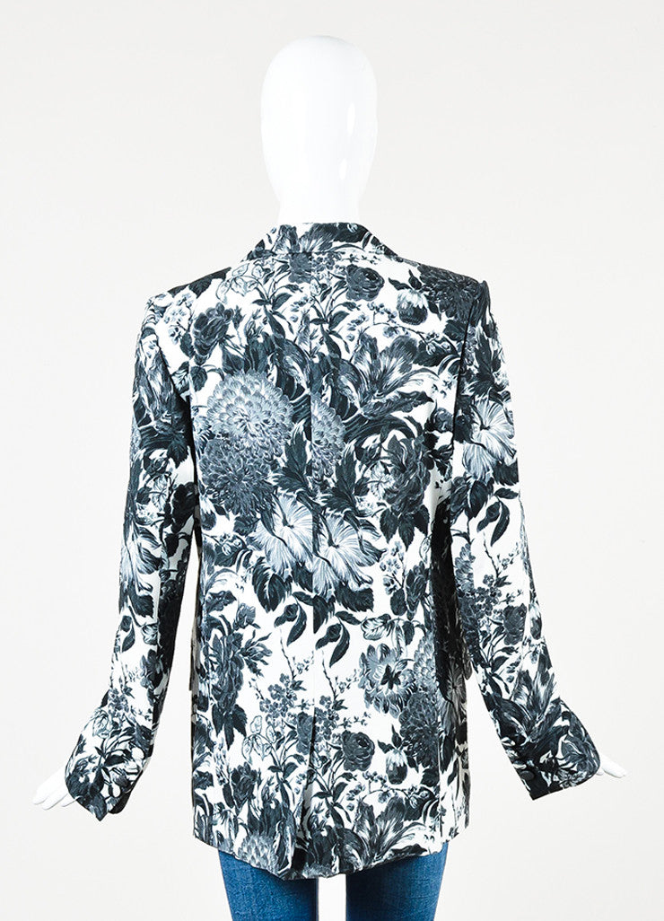 Stella McCartney White, Black, and Grey Jersey Floral Blazer Jacket Backview