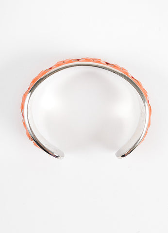 Tod's Orange, Red, and Silver Toned Woven Leather Trim Metal Bangle Bracelet Topview
