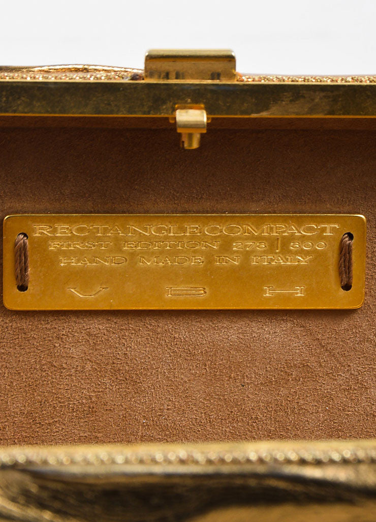 VBH Metallic Gold Leather Rectangular Compact Clutch Bag Brand