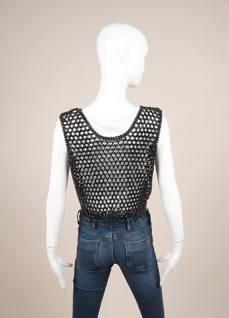 Vintage Black Faceted Woven Bead Tie Cropped Vest Backview
