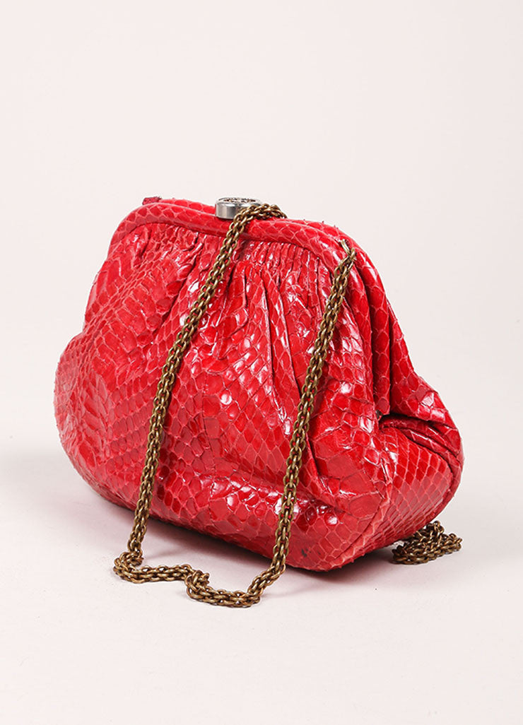 Chanel Red Python Clutch Bag  Sideview