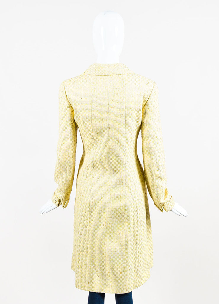 Chanel Yellow and White Tweed Zipped Front Split Long Structured Coat Backview