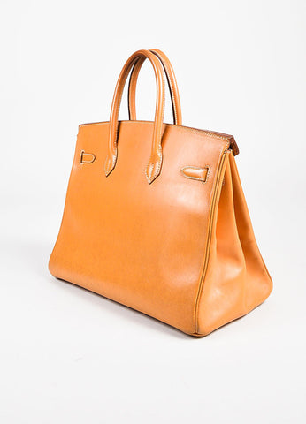 "Hermes ""Natural"" Tan Box Calf Leather Top Handle ""Birkin"" 35cm Bag Sideview"