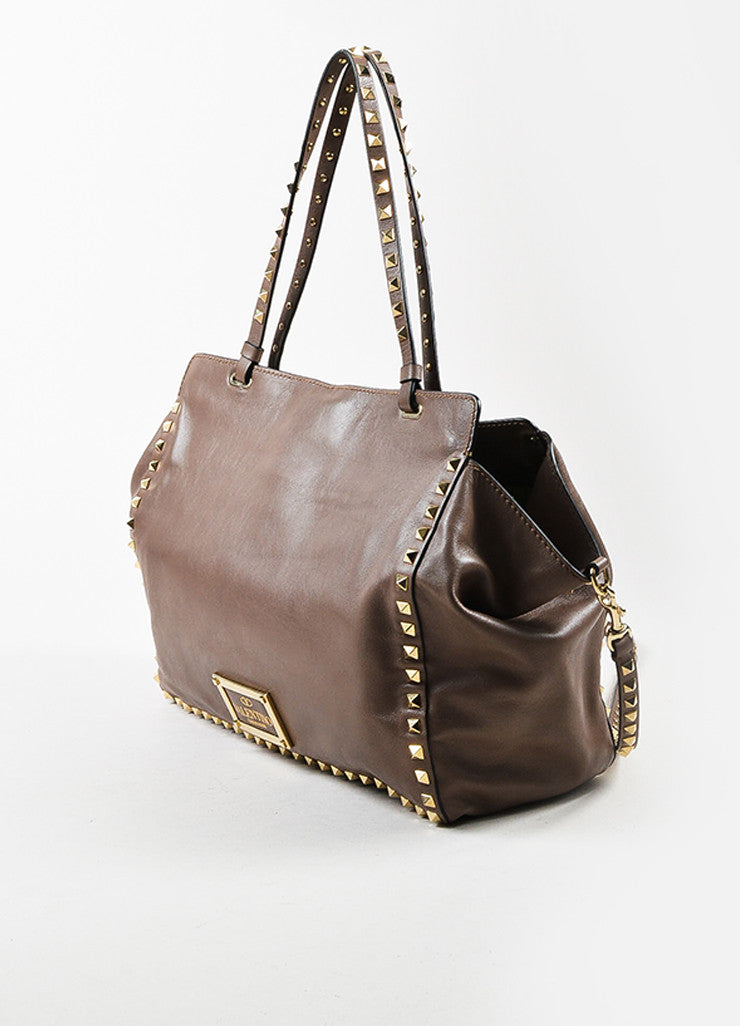 Valentino Taupe Leather Gold Toned Rockstud Medium Tote Bag Sideview