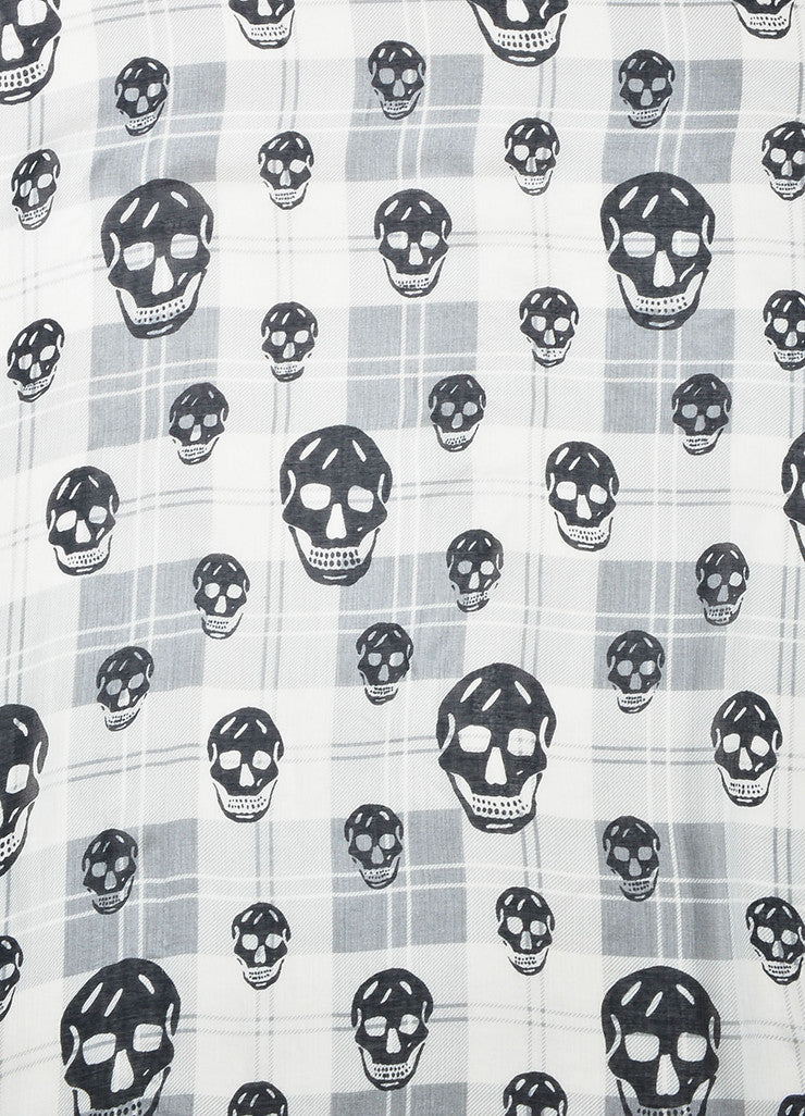 White Grey Black Alexander McQueen Plaid Skull Scarf Detail