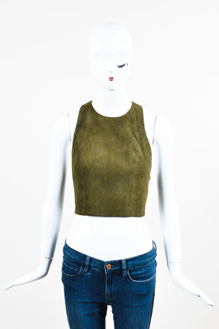 Alice + Olivia Olive Green Suede Scoop Neck Racer Back Cropped Tank Front