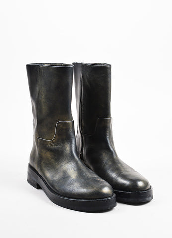 Ann Demeulemeester Black and Gold Metallic Airbrushed Mid Calf Combat Boots Frontview