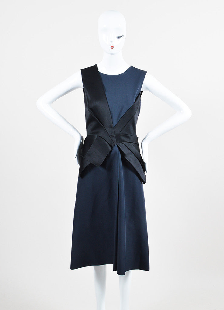 Black and Navy Bottega Veneta Wool and Silk Bow Structured Sleeveless Dress Frontview