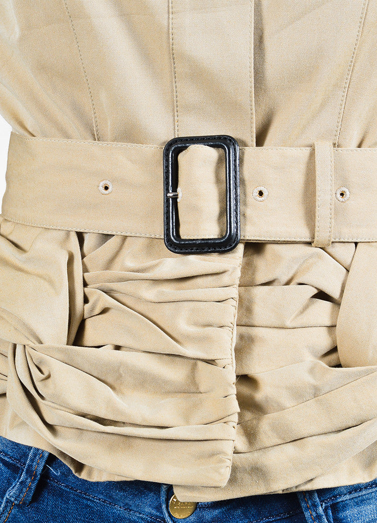 Burberry Prorsum Khaki Cotton Ruched Knot Snap Front Belted Jacket Detail